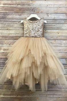 Rose gold Sequin Top Flower Girl Glam Dress Blush, Rose Gold/ Champagne and Ivory Gold Sequin Top Dress rose gold sequin top dress big bow