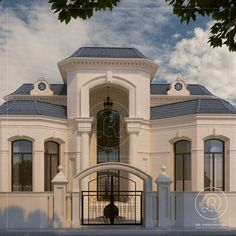 Private villa Qatar by RDE #Villa #qatar #Exterior #Architecture #RDE Small Luxury Homes, Luxury Homes Dream Houses, Duplex Design, Villa Design, Simple House Plans, House Floor Plans, Classic House Design, Small House Exteriors, Small Villa