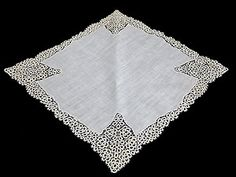 Vintage Tatted Lace Linen Bridal Wedding Hankie Handkerchief Unused