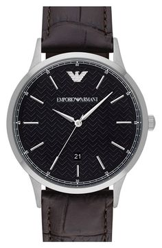 Emporio Armani 'Dress' Leather Strap Watch, 43mm available at #Nordstrom