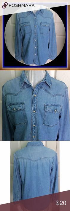 Urban Pipeline / Size Large / Denim Shirt / Snaps Urban Pipeline / Size Large / Denim Shirt / Pearl Snaps down the front / 100% cotton / Western Look. Please feel free to make an offer - Enjoy BIG discounts on bundles & save $$$ on shipping! I package safely & ship fast.  TY & Happy Poshing! 💜💜💜 C9 Urban Pipeline Shirts Casual Button Down Shirts