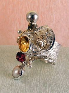 Gregory Pyra Piro #Schmuckkunst Silber und Gold mit #Edelsteinen Unikat #Ring Nr. 9435