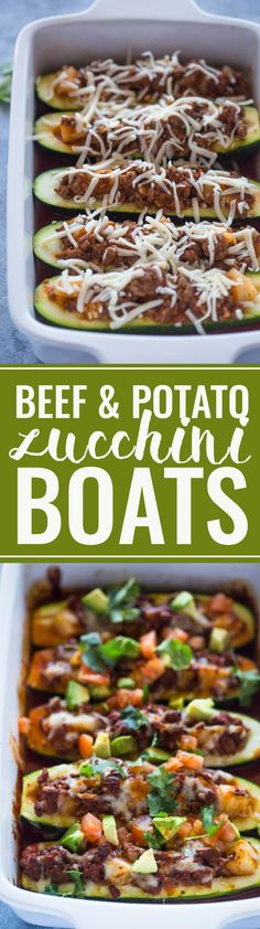 Beef and Potato Zucchini Boats are healthy and delicious.   #food #healthy #weightloss #lunch #yum #beef #boats #zucchini #ad