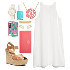A fashion look from June 2015 by preppy-classy featuring MANGO, Kate Spade, Michael Kors, Kendra Scott, Lilly Pulitzer and Essie Adrette Outfits, Preppy Outfits, Spring Outfits, Fashion Outfits, Preppy Dresses, Preppy Fashion, Girly Outfits, School Looks, Preppy Girl