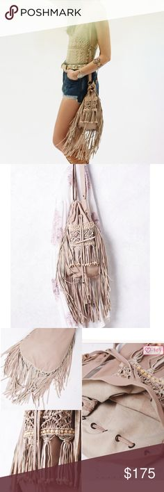 Beaded Fringe Crossbody Equal parts beachy and boho. This leather bag is crafted from super soft leather and features intricate hand-macramé and hand-embellished beading along the body. Exaggerated fringe hem and drawstring closure. Adjustable strap for versatile wear. Australian made leather. Brand new never used. Free People Bags Crossbody Bags