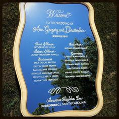 Beautiful signage and calligraphy from Long Village Studios, located in Hendersonville, NC Wedding Signage, Wedding Programs, Wedding Stationery, Wedding Invitations, Wedding Mirror, Maid Of Honor, North Carolina, Hand Lettering