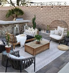 This rattan daybed has an authentic wicker base and a supportive poly-fill cushion. As beautiful on your patio as it is in your living room, the Sol brings old-Hollywood energy to any space. Small Backyard Patio, Backyard Seating, Backyard Patio Designs, Backyard Projects, Outdoor Seating, Desert Backyard, Paved Backyard Ideas, Simple Backyard Ideas, Modern Backyard Design