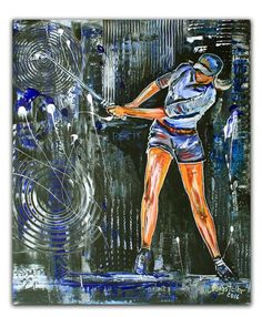 BURGSTALLER ORIGINALGolf Gemälde Bild Golfer Golfspieler Malerei Turnierpreis 73