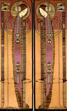 Margaret Macdonald embrodiered panels Charles Rennie Mackintosh