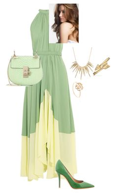 """Party"" by visalvetti on Polyvore featuring Saloni, Salvatore Ferragamo, Chloé, Alexis Bittar, Bling Jewelry, GREEN e golden"