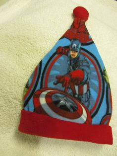 Avengers / Captain America / Iron Man Santa Hat - Adult Size. $10.00, via Etsy.