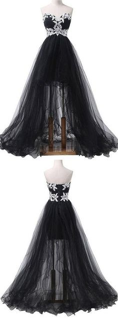 Sexy Prom Dress,Cheap Prom Dresses,Long Evening Dress,Sweetheart Long Prom Dress,Tulle Prom Dresses With Appliques High Low Prom Dresses, Black Party Dresses, Cheap Prom Dresses, Dresses For Teens, Homecoming Dresses, Dress Black, Beautiful Prom Dresses, Pretty Dresses, Vetement Fashion