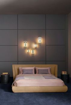 Metropolis Plain leather bed | Baxter Baxter Furniture, Modern Furniture, Leather Bed, Leather Furniture, Night Table, Unique Lamps, Small Tables, Wall Sconce Lighting, Soft Furnishings