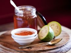 Feijoa and vanilla jelly recipe, Viva – I love the flavour of feijoas and they are in season for a short time so making this jelly is a great way to make the most of your backyard bountyampnbsp - Eat Well (formerly Bite) Guava Recipes, Jelly Recipes, Dessert Recipes, Guava Jelly, Pineapple Guava, Canning Recipes, Kitchen Recipes, Frozen Yogurt Popsicles, Recipes