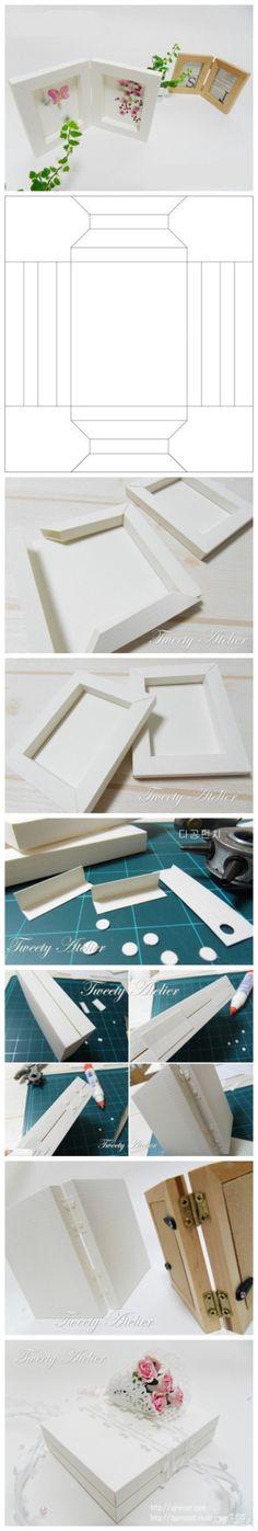 用纸做相框的教程,很温馨的感觉,按图纸打印裁剪组装即可【阿画】