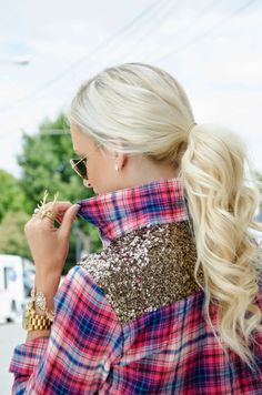 "♔Janaes Style-' The Monogrammed Life: Plaid Meets Glam--- Im always mad for plaid! Being the ""I want to stand out"" kind of girl, I knew this express flannel would be a hit! It's the perfect mix of causal glam, the sequin touch gives it that party in the back suprise detail which I love."