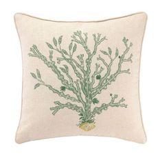 Reef Green Kelp Coastal Pillow-elegant embroidered design from DL Rhein