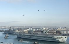 HMS Queen Elizabeth and HMS Prince of Wales are united for first time Hms Prince Of Wales, Hms Ark Royal, Portsmouth Harbour, Hms Queen Elizabeth, Navy Carriers, Round Tower, Royal Marines, Flight Deck, Tonne