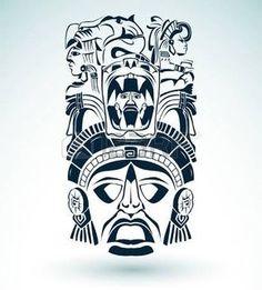 Máscara de vetor, maias mexicanos - motivos asteca - símbolo