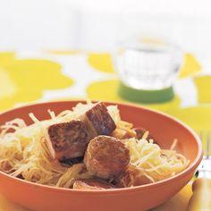 Maple-Glazed Tofu with Spaghetti Squash