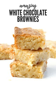 Have you ever made White Chocolate Brownies before? They're AMAZING! These soft and chewy buttery White Chocolate Coconut Brownies are the best dessert. White Brownies, White Chocolate Brownies, White Chocolate Desserts, Vegan White Chocolate, Fun Desserts, Dessert Recipes, Dessert Bars, Cake Recipes, Coconut Brownies