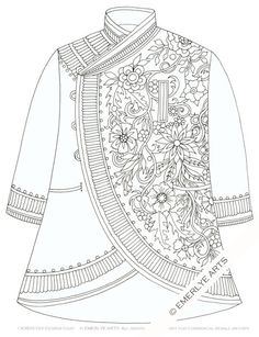 Off center coat - a digital download coloring page by Cynthia Emerlye.  This is part of her Raiments collection. $2 on Etsy