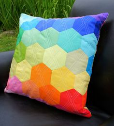 Rainbow Hexagon Pillow by Cut To Pieces, via Flickr