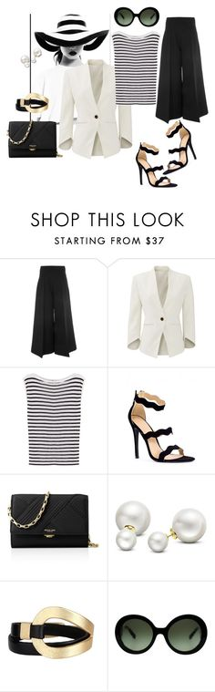 """Striped Layering Shirt"" by tammydevoll ❤ liked on Polyvore featuring Valentino, Slate & Willow, T By Alexander Wang, Michael Kors, Allurez, Saachi, Prada and stripedshirt"