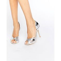 True Decadence Silver Metallic Heeled Peep Toe Sandals liked on Poly Peep Toe Shoes, Slip On Shoes, Shoes Heels, Metallic High Heels, Metallic Sandals, Casual Outfits For Teens, Almond Shape Nails, Metallica, Peeps
