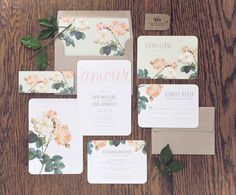 Amour Wedding Invitation & Correspondence Set / Vintage Florals with Contemporary Accents / Sample Set