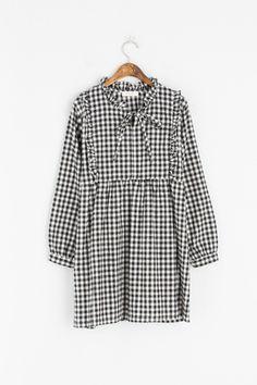 Gingham Check Frill Dress, Black