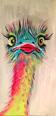 Claudia Weise, Vogelstrauss bunt , Acryl 15 x 30zur Zeit nicht verfügbar #OilPaintingFish