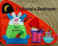Home for a Bunny QUIET BOOK pdf pattern by LindyJ Design. It's a Carrot Cottage for a little felt bunny named Cadbury! This is Cadbury's bedroom. When it's time for bed, Cadbury tucks Little Mouse into a spare Easter basket and then HOPS into her own bed. Fun new design....at Etsy.