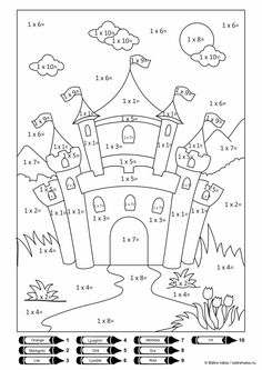 castles Printable Color By Number Multiplication. Looking for color by number for your kids? find out our collection of color by number multiplication here. Multiplication Sheets, Math Sheets, Multiplication Facts, Math Coloring Worksheets, Kids Math Worksheets, Map Worksheets, Coloring Sheets For Kids, Coloring Books, Alphabet Coloring