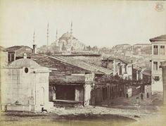 Fatih'te bir çeşme ve Süleymaniye, Guillaume Berggren, İstanbul, 1870...