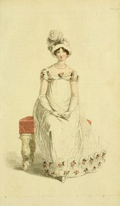 Ackermann's Repository Vol 4 - July Issue Evening Dress Regency Dress, Regency Era, Fashion Prints, Fashion Art, Emo Fashion, Ladies Fashion, Style Fashion, Victorian Fashion, Vintage Fashion