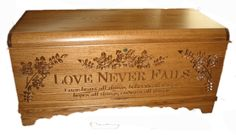This unusual and wonderful blanket and Medium Size hope chest is done by an Amish craftsmen who does the carving before the Oak Hope Chest is finished in two coats of a very durable finish. This chest is oak hardwood with a choice of oak stain finishes, based on samples that we send to you. The chests are assembled from glued up strips of oak hardwood. Engraved with 'Love Never Fails: Love bears all things, believes all things, hopes all things, end...