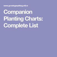 Companion Planting Charts: Complete List