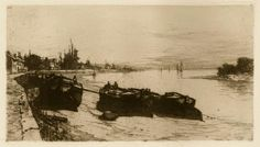 Mud Boats on the ThamesEtching in sepia ink, image size 6 x 10 7/8 inches, 1883, cat: Rice-44, plate signed and dated, l.r by Charles Adams Platt
