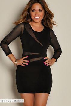 Cherise Black See Through Mesh Long Sleeve Mini Dress 42770c0ac492