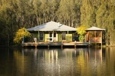 A collection of five outstanding self-contained cottages set among the vineyards and olive groves of the Lower Hunter Valley wine region. Deck Over, Weekends Away, Luxury Accommodation, Contemporary Interior Design, Billabong, Gazebo, Outdoor Structures, Patio, House Styles