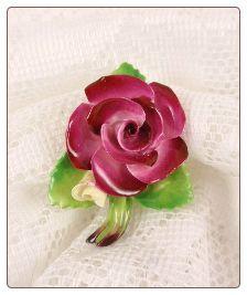 Staffordshire Cara China Magenta Rose Pin Brooch England