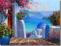 Memories of Greece by Mikki Senkarik - Mediterranean tile mural backsplash by ArtworkOnTile.com