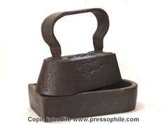 fer à repasser de chapelier avec son support en fonte - ensemble +6kilos, numéro5 - fin 1800 France