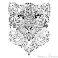 Tattoo Snow Leopard, Panther, Cat, With Patterns And Ornaments Stock Illustration - Illustration of ethnic, painting: 51612783 Mandala Tattoo Design, Dotwork Tattoo Mandala, Snow Leopard Tattoo, Leopard Tattoos, Snow Leopard Drawing, Tribal Tattoos, Tatoos, Geometric Tattoos, Maori Tattoos