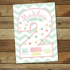 2nd birthday party invitation  number two  by saralukecreative, $16.00