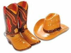 Western Hat and Cowboy Boots Salt  Pepper Shakers