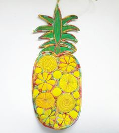 Hanging Pineapple Decoration £20.00 Handmade Decorative Items, Handmade Crafts, Free Machine Embroidery, Egyptian Cotton, Silk Fabric, Gift Guide, Pineapple, September, Textiles