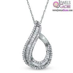 Diamond Loop Pendant in 10K White Gold, #necklaces