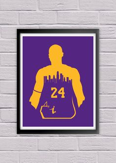Kobe Bryant #24 Los Angeles Lakers Poster Print NBA Nation Basketball Association Sports Fan Minimalist Wall Art House Warming. Kobe Bryant #24 for the Los Angeles Lakers! This Minimalist Poster Print showcases the Los Angeles Skyline while sporting the vibrant colors of the Lakers. This print will make a great addition to any Lakers fan collection, or make for the perfect gift for any Los Angeles sports follower out there!